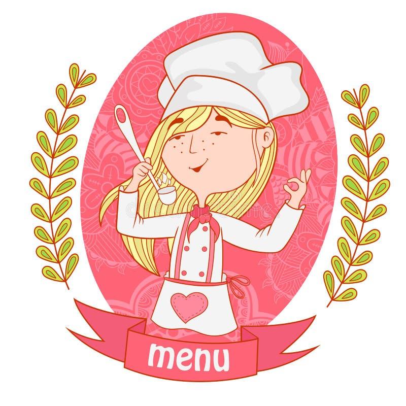 Śliczny dziewczyna szefa kuchni kucharz z kopyścią menu royalty ilustracja
