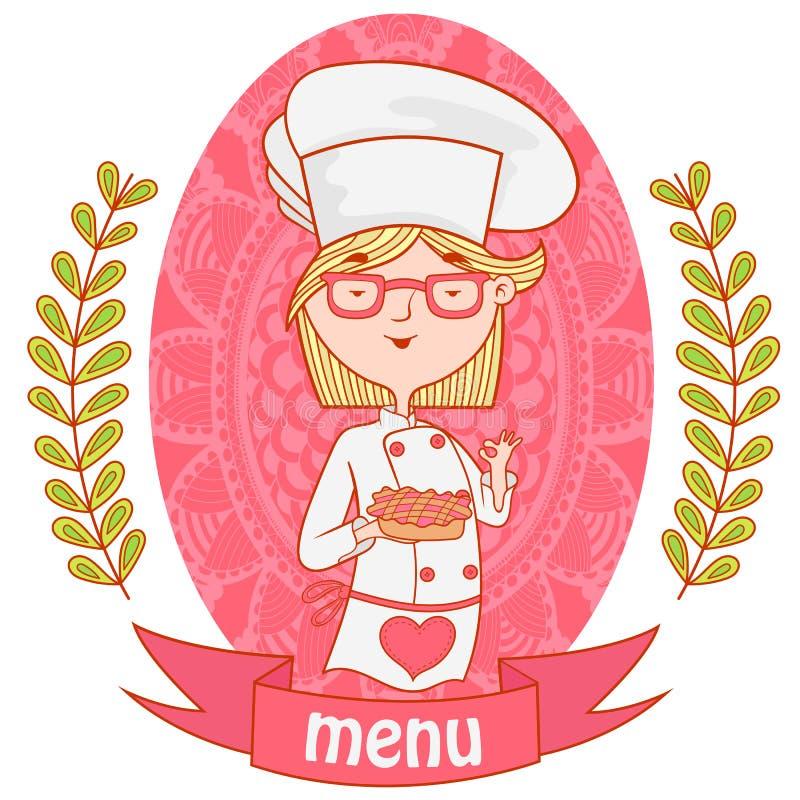 Śliczny dziewczyna szefa kuchni kucharz z kulebiakiem menu royalty ilustracja