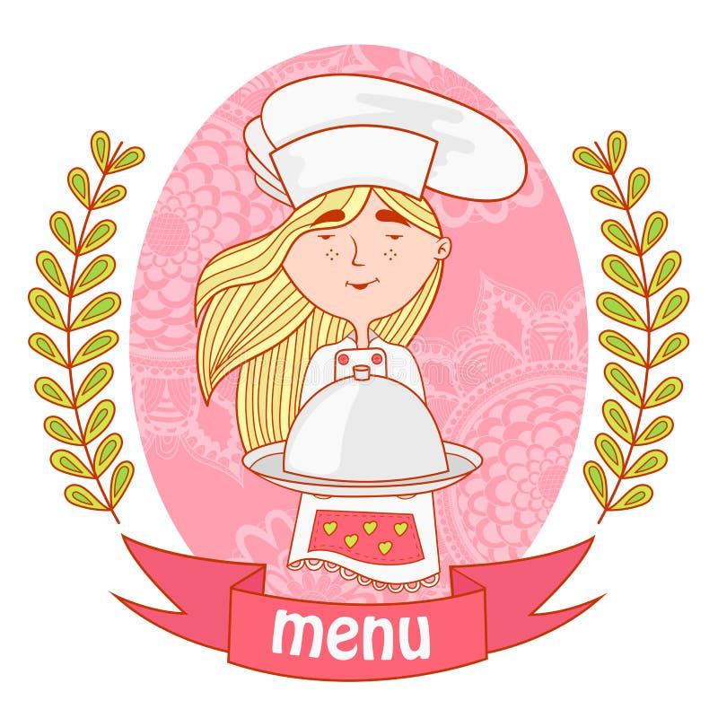 Śliczny dziewczyna szefa kuchni kucharz z naczyniem na tacy menu ilustracja wektor