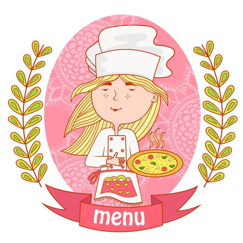 Śliczny dziewczyna szefa kuchni kucharz z pizzą menu ilustracji