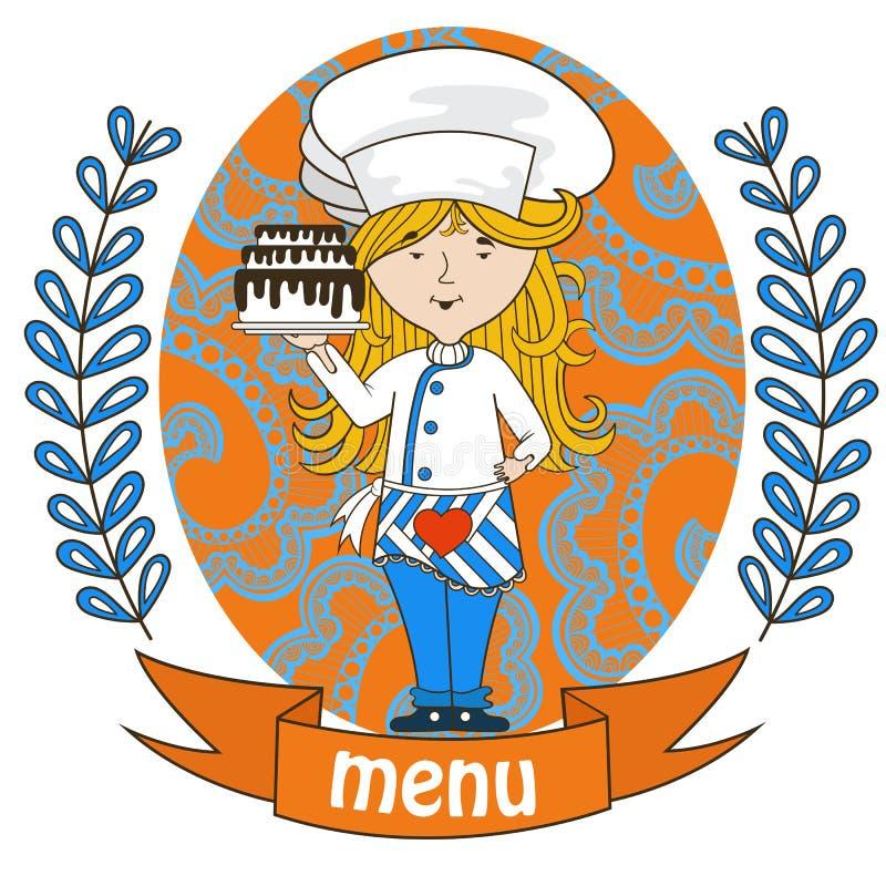 Śliczny dziewczyna szefa kuchni kucharz z wyśmienicie tortem na tacy menu royalty ilustracja