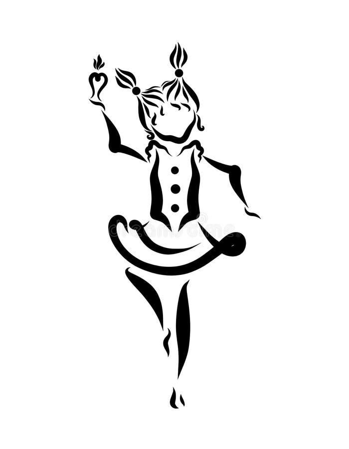 Śliczny dziewczyna taniec z kierową kształtną świeczką w jej ręce royalty ilustracja