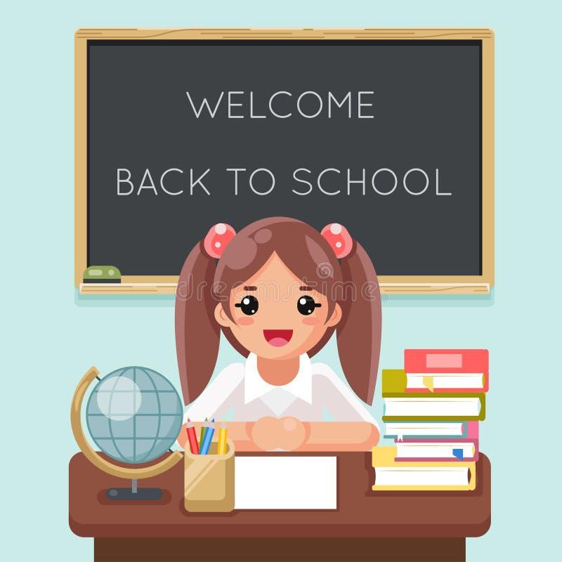 Śliczny dziewczyna ucznia uczeń uczy się stołowych książek blackboard szkolnej światowej kuli ziemskiej projekta wektoru płaską i ilustracji