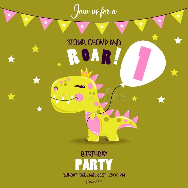 Śliczny dziewczynka dinosaur Urodzinowy zaproszenie royalty ilustracja