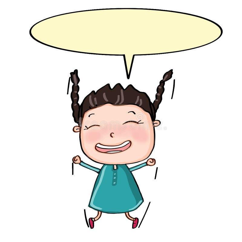 śliczny dziewczyny doskakiwanie, mówienie i ilustracji