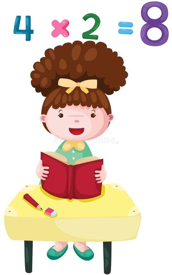 Śliczny dziewczyny studiowania mathematics ilustracji
