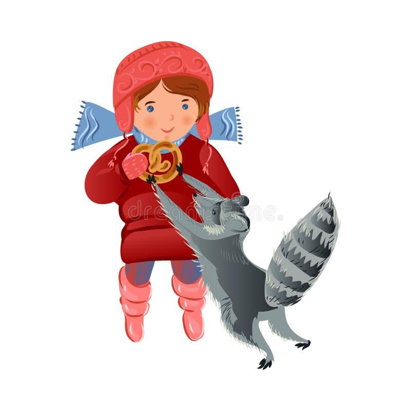 Śliczny dziki popielaty skunksowy bierze piekarnia precla od ślicznej dziewczyny royalty ilustracja