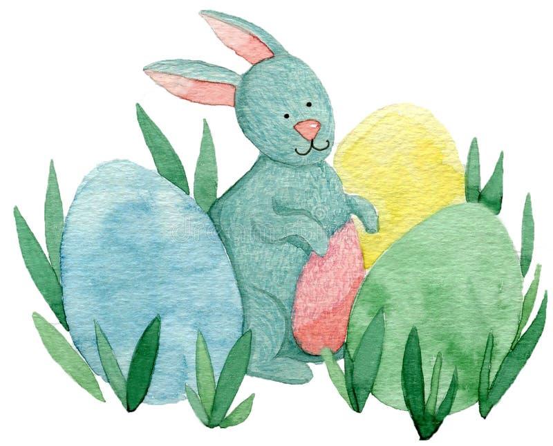 Śliczny Easter królik z malującymi jajkami zdjęcia royalty free
