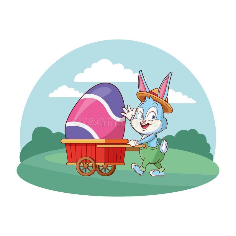 Śliczny Easter królika świętowanie z jajeczną fury natury tła round ramą royalty ilustracja