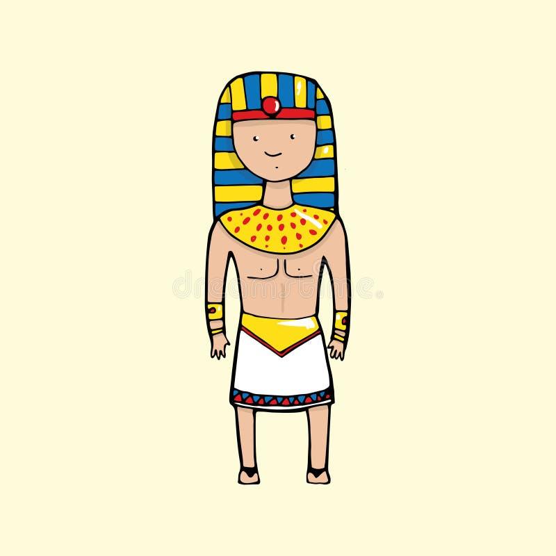 Śliczny egipski pharaoh w kreskówka stylu royalty ilustracja