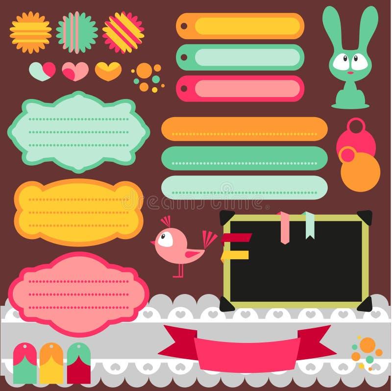 śliczny elementów scrapbook set ilustracja wektor