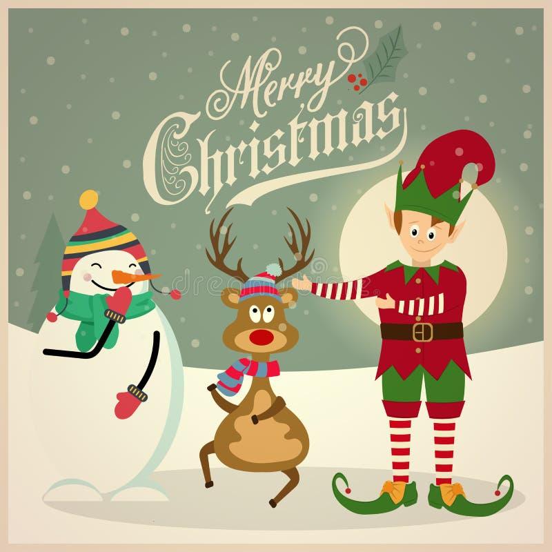 Śliczny elf z bałwanem i reniferem więcej toreb, Świąt oszronieją Klaus Santa niebo ilustracji