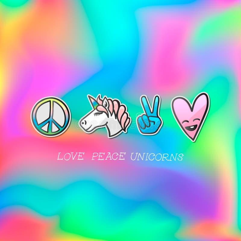 Śliczny emoji łata odznakę, miłość pokoju jednorożec majchery, wektor royalty ilustracja