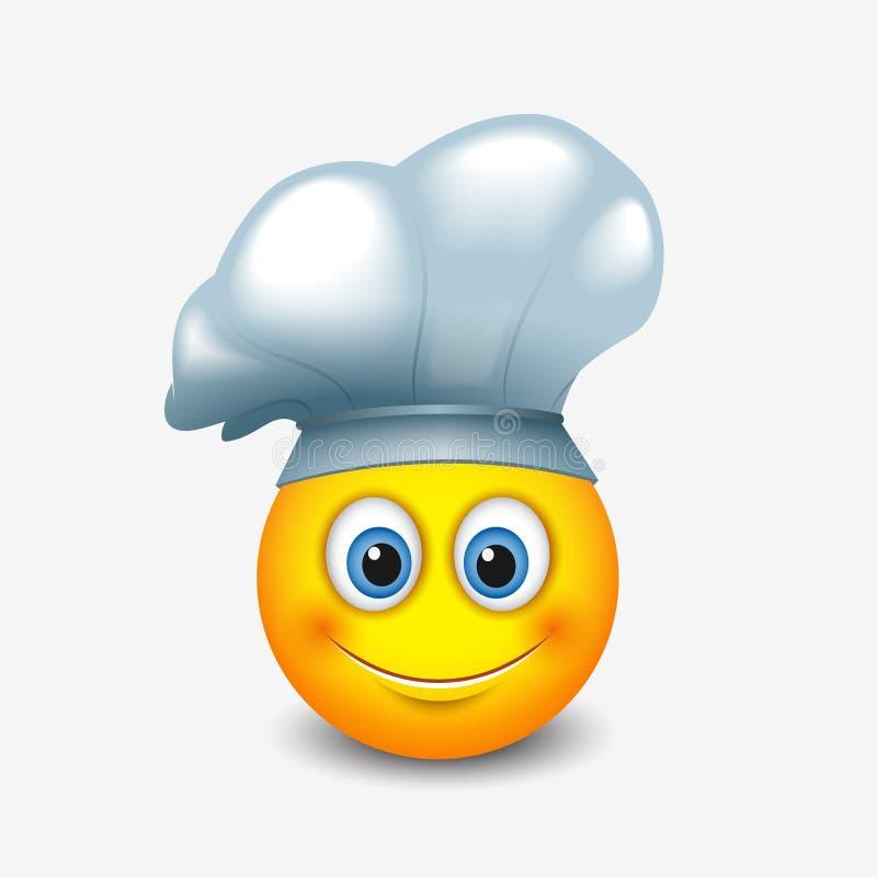 Śliczny emoticon jest ubranym szefa kuchni kapelusz wektorowa ilustracja - emoji, smiley - royalty ilustracja