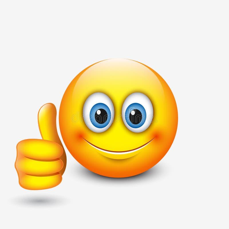 Śliczny emoticon z kciukiem up, emoji - wektorowa ilustracja royalty ilustracja