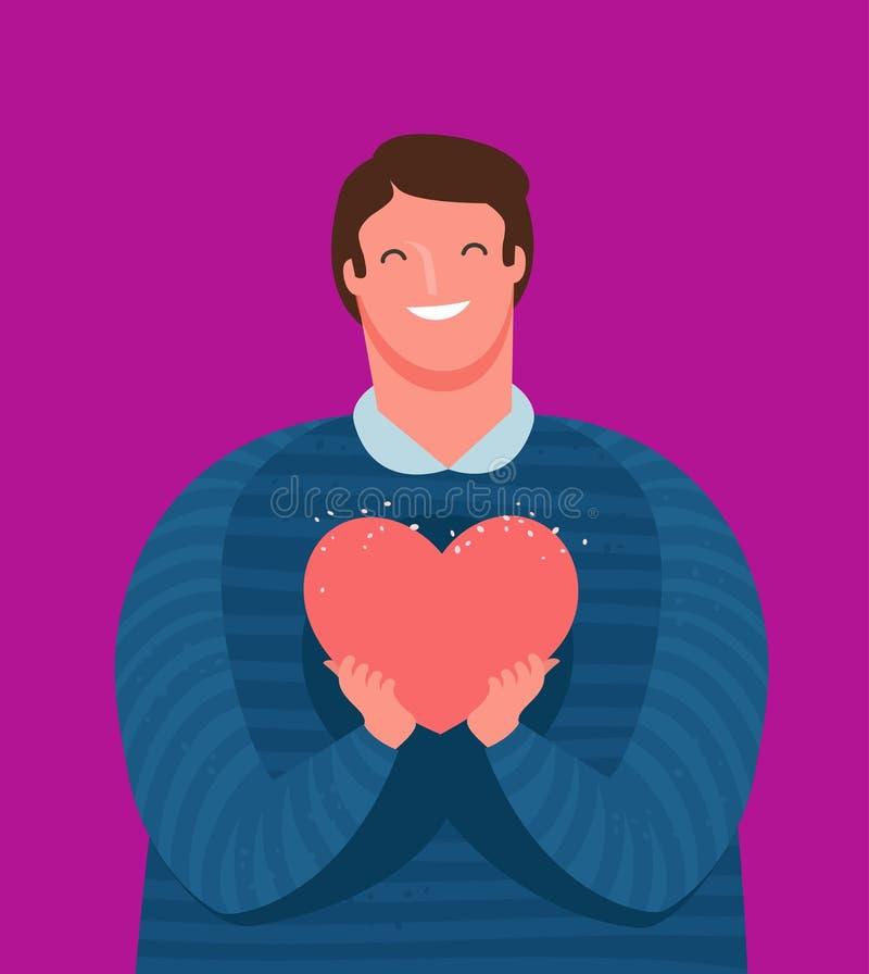 ?liczny facet trzyma tenderly serce w jego r?kach Mi?o??, przyja?ni poj?cie obcy kresk?wki kota ucieczek ilustraci dachu wektor royalty ilustracja