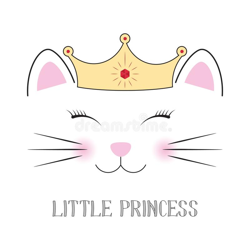 Śliczny fantazja kota princess Cukierki żartuje grafika dla koszulek ilustracja wektor