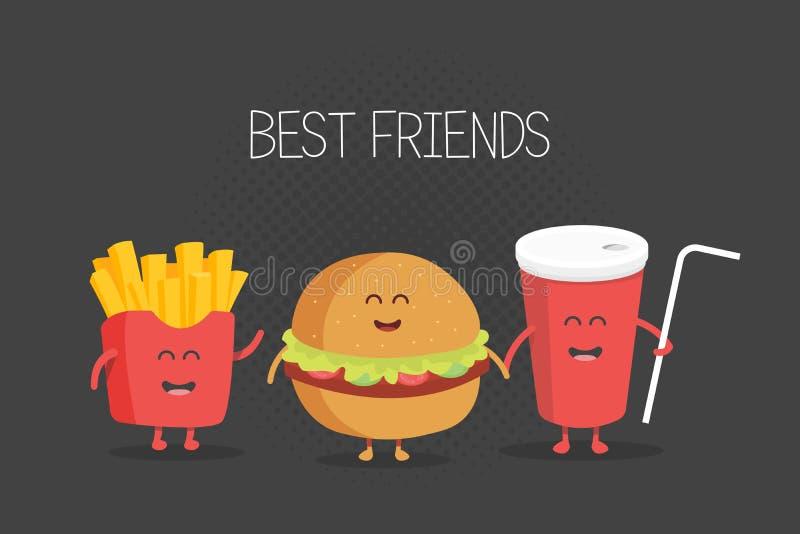 Śliczny fasta food hamburger, soda, francuz smaży royalty ilustracja