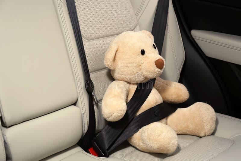 Śliczny faszerujący zabawka niedźwiedź zapinający w tylnym siedzeniu fotografia stock