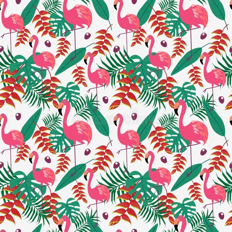 Śliczny flaming i tropikalny bezszwowy wzór kwiatów i liści ilustracji