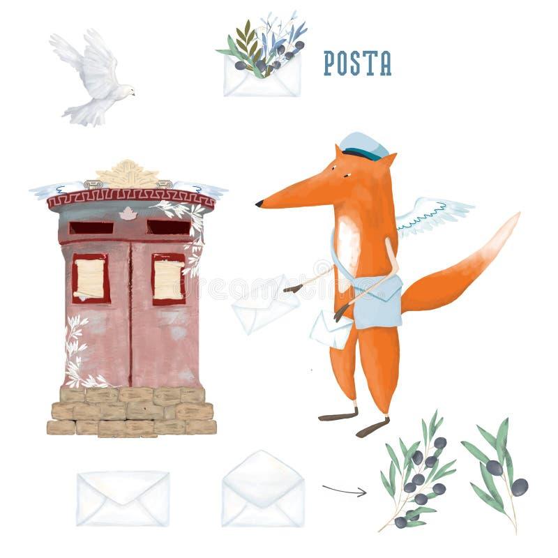Śliczny Fox, gołąbka i oliwka Karta Światowy poczta dzień, Październik 9, ilustracja dla światowego poczta dnia z postbox ilustracja wektor