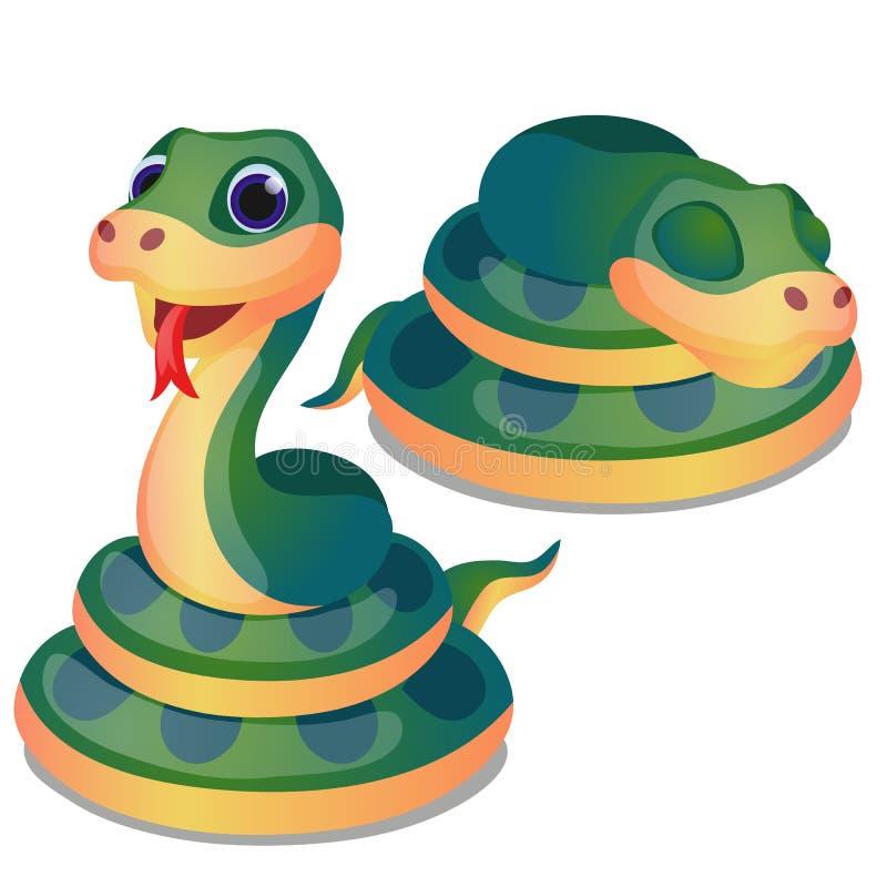 Śliczny fryzujący w górę zielonego węża odizolowywającego na białym tle Wektorowa kreskówki zakończenia ilustracja ilustracja wektor