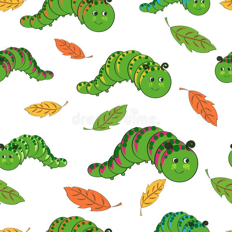 Download Śliczny gąsienica wzór ilustracja wektor. Ilustracja złożonej z radosny - 65226131