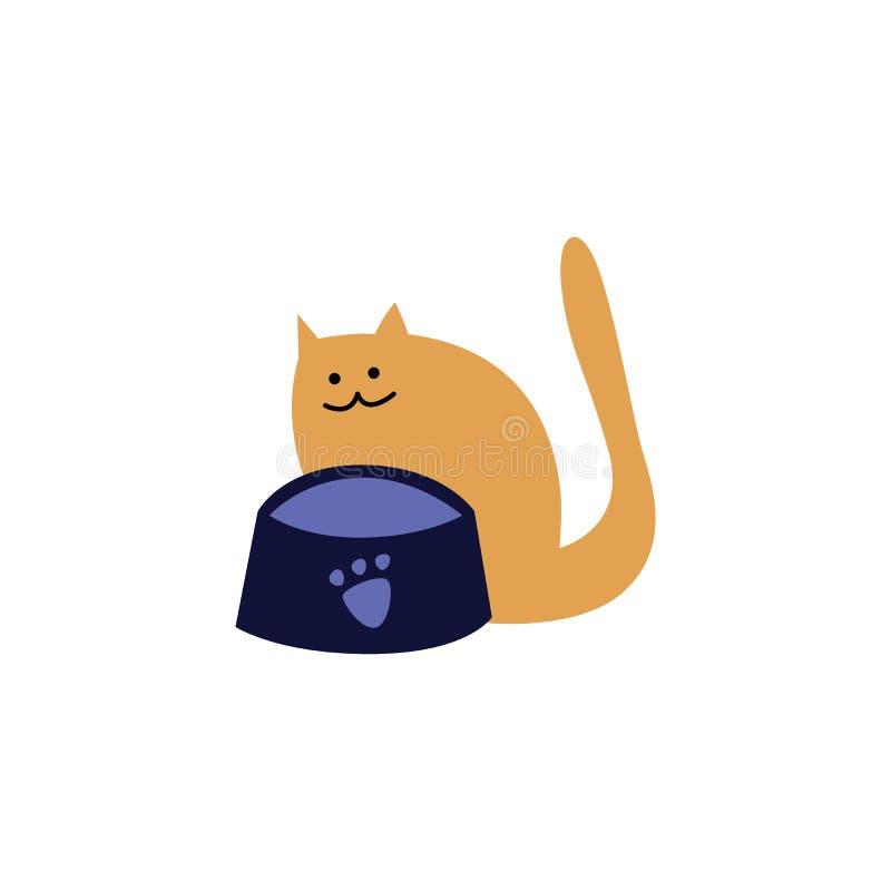 Śliczny głodny domowy czerwony kot lub figlarka czekać na karmowego obsiadanie z posiłku pucharem ilustracja wektor