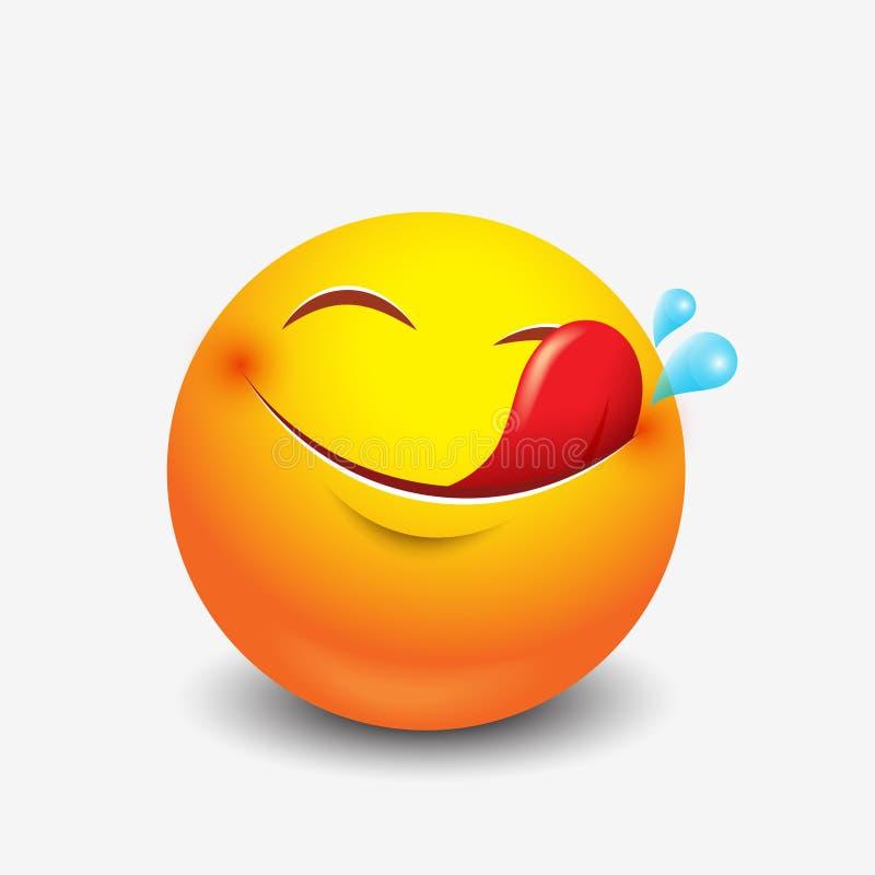 Śliczny głodny emoticon, emoji, smiley - ilustracja ilustracji