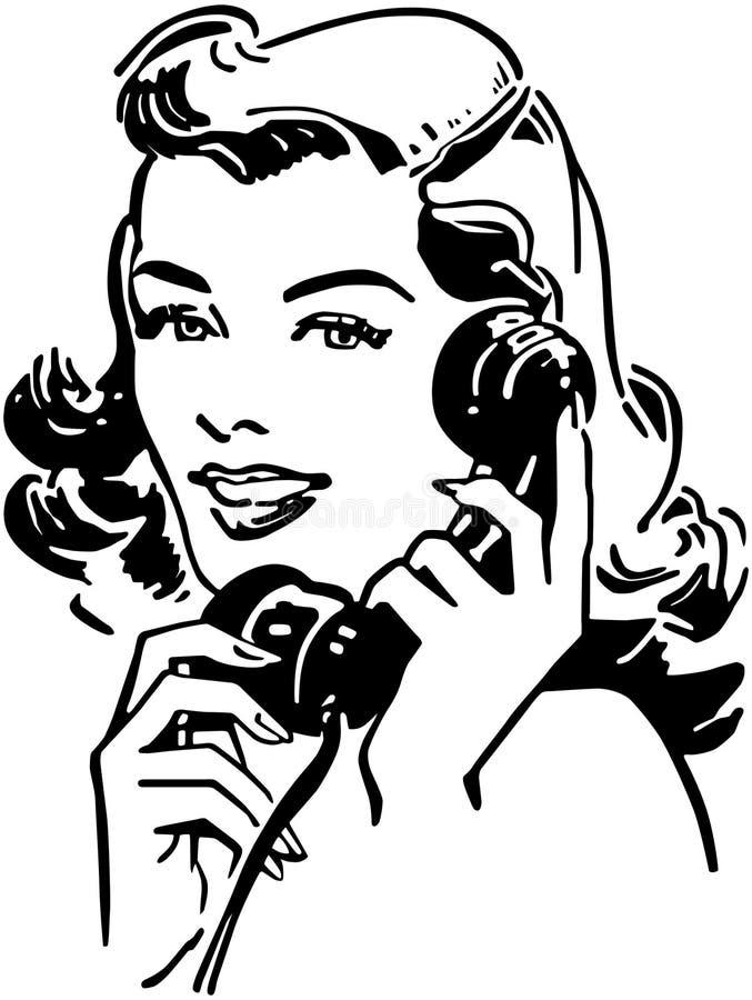 Śliczny Gal Na telefonie ilustracja wektor