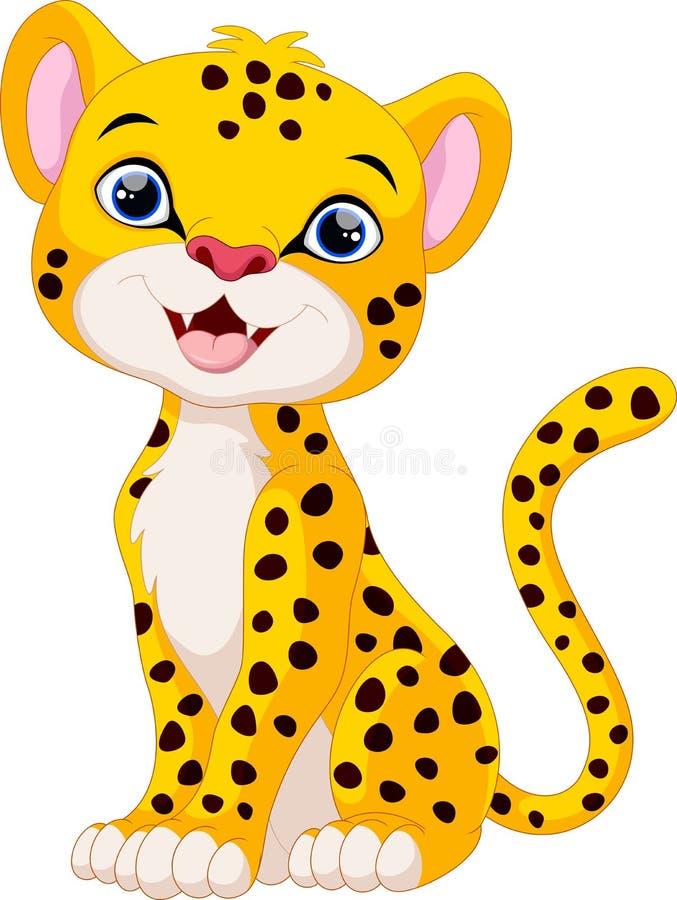 Śliczny gepard kreskówki obsiadanie ilustracji