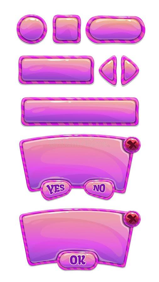 Śliczny glansowany menchii GUI set royalty ilustracja