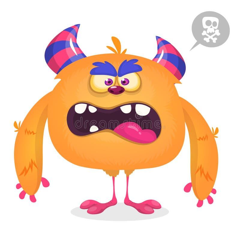 Śliczny gniewny kreskówka potwór Wektorowy owłosiony pomarańczowy potwora charakter z malutkimi nogami i dużymi rogami ilustracji