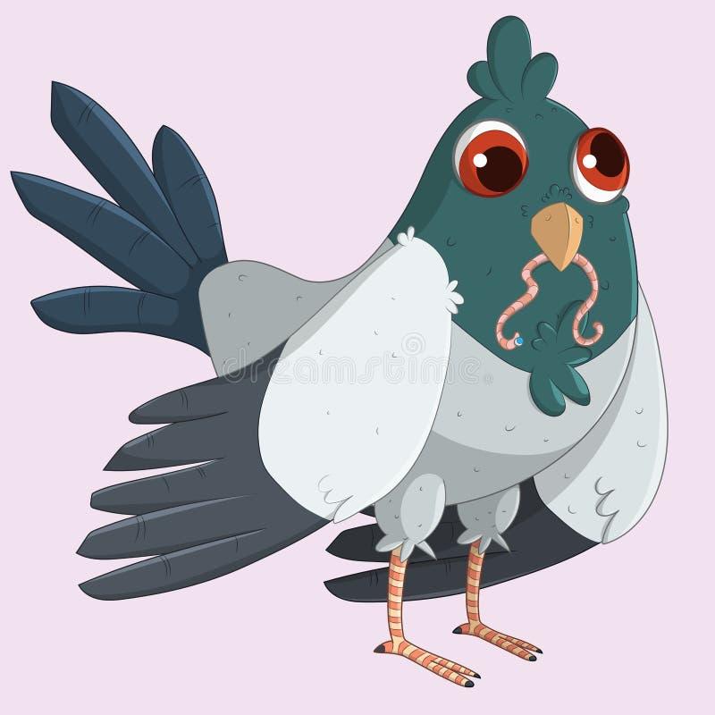 Śliczny gołąb je dżdżownicy ilustracja wektor