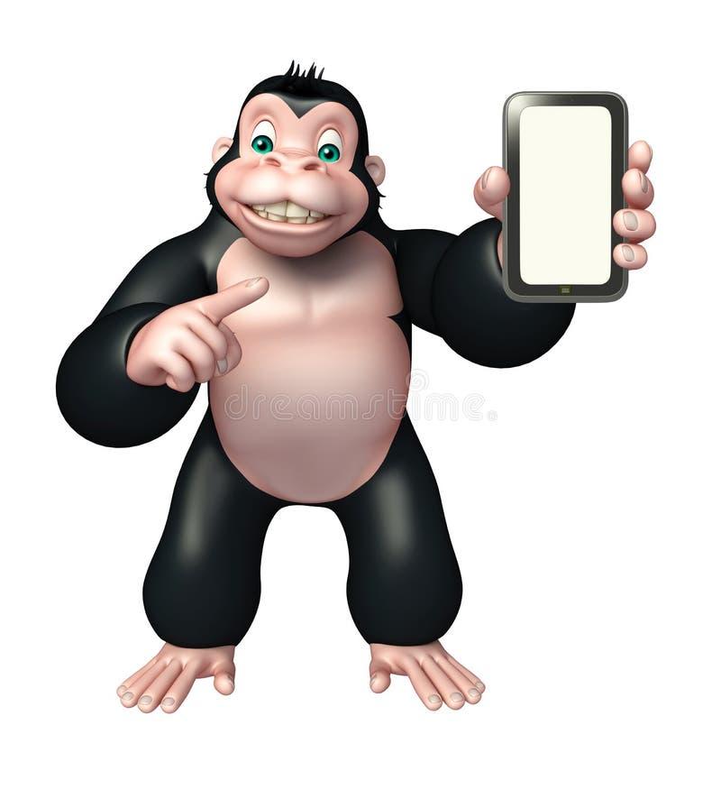 Śliczny goryla postać z kreskówki z wiszącą ozdobą royalty ilustracja