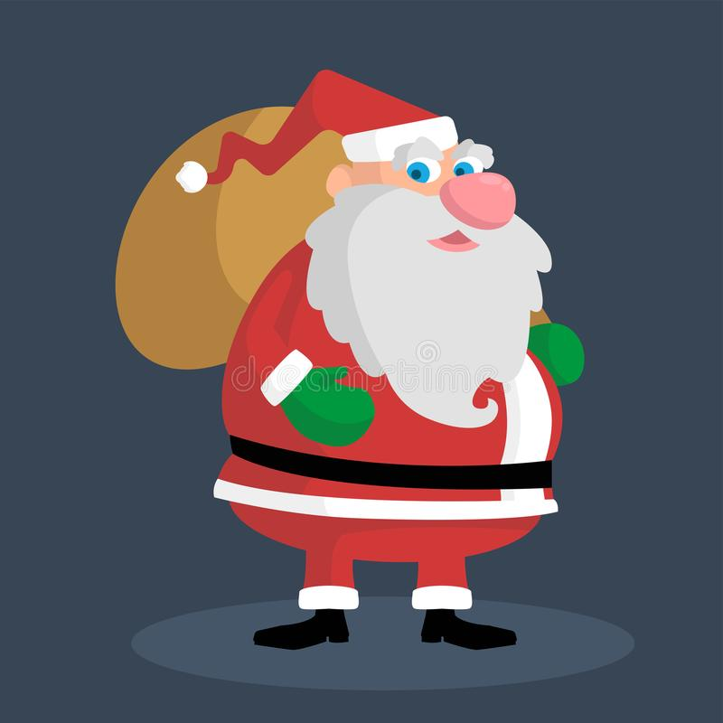 Śliczny gruby Santa trzyma torbę z prezentami ilustracji