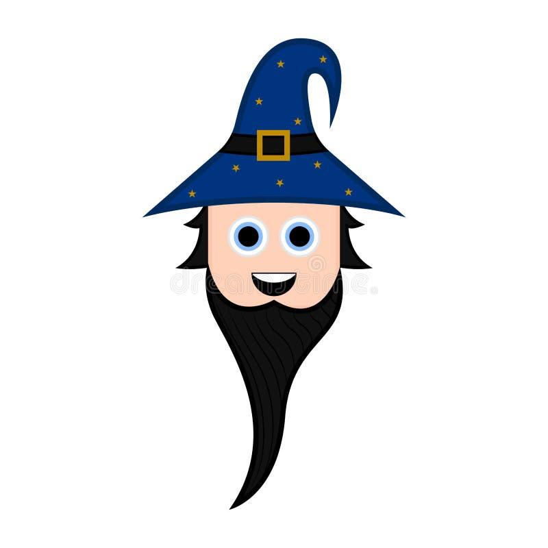 Śliczny Halloween czarownika postać z kreskówki ilustracja wektor