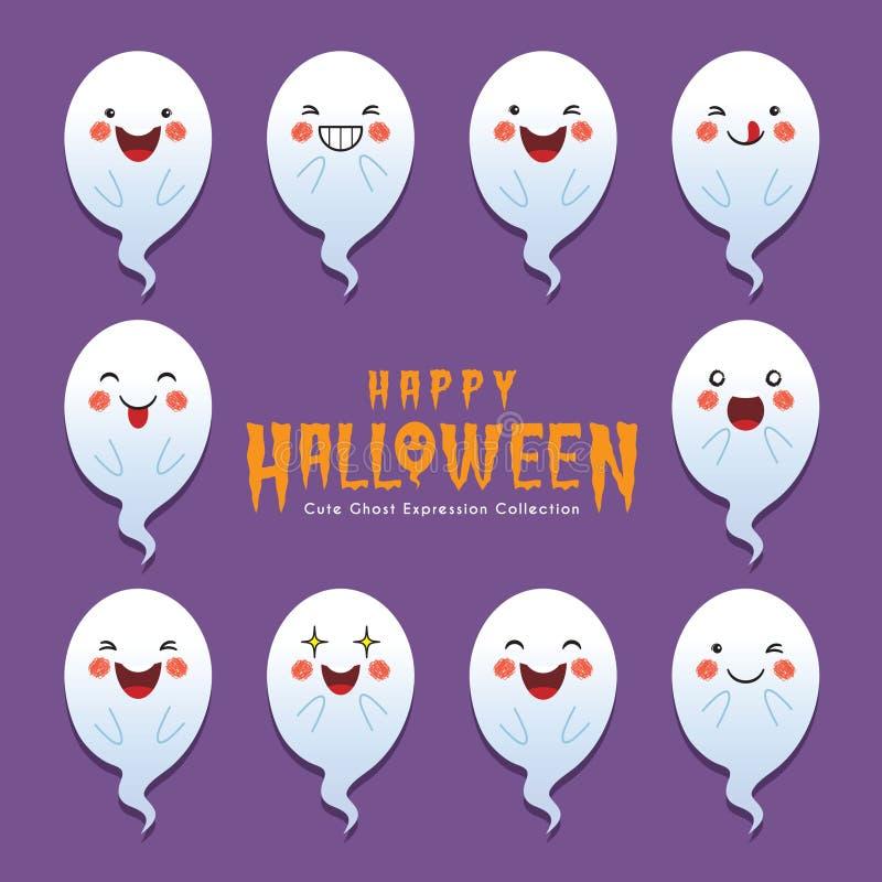 Śliczny Halloween duch z różnym twarzy wyrażeniem ilustracja wektor