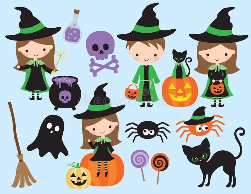 Śliczny Halloweenowy mały czarownicy i czarownika wektor ilustracja wektor