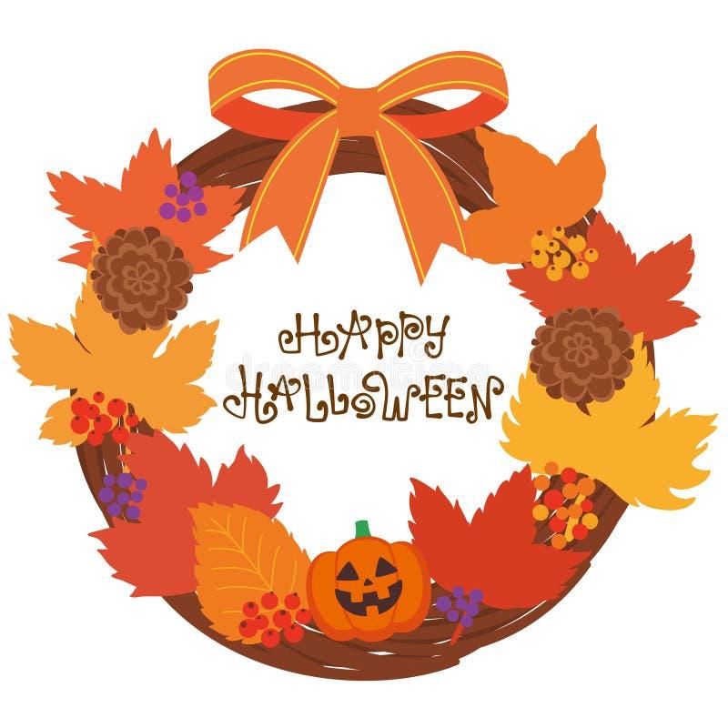 Śliczny Halloweenowy wianek i logo szczęśliwego halloween royalty ilustracja
