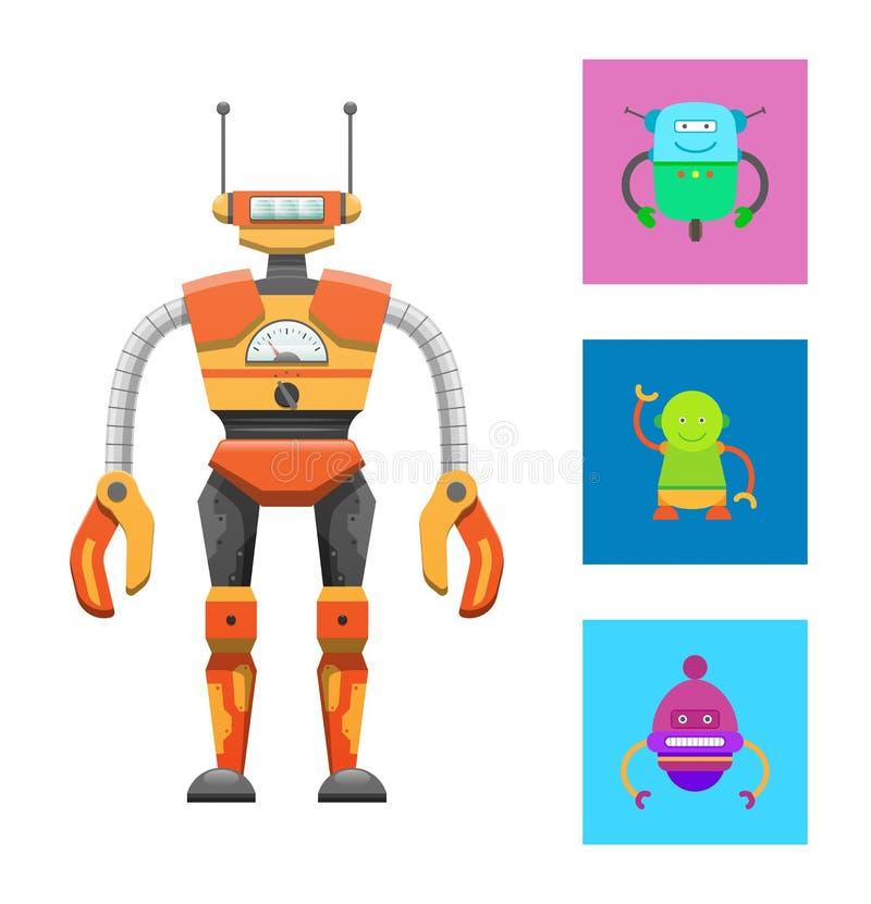 Śliczny Humanoid robot, Kolorowa Wektorowa ilustracja royalty ilustracja