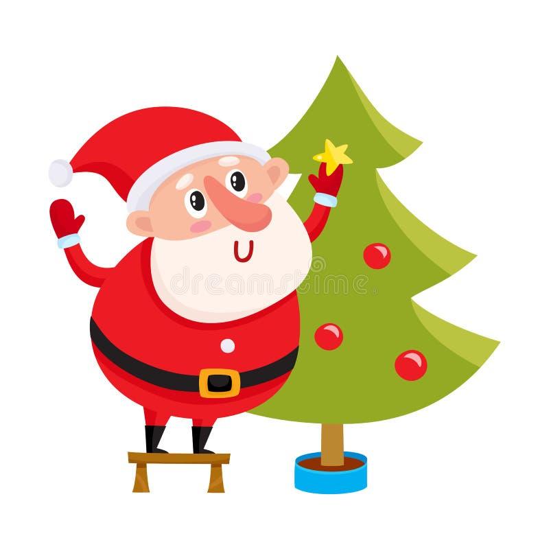 Śliczny i śmieszny Święty Mikołaj dekoruje choinki ilustracja wektor
