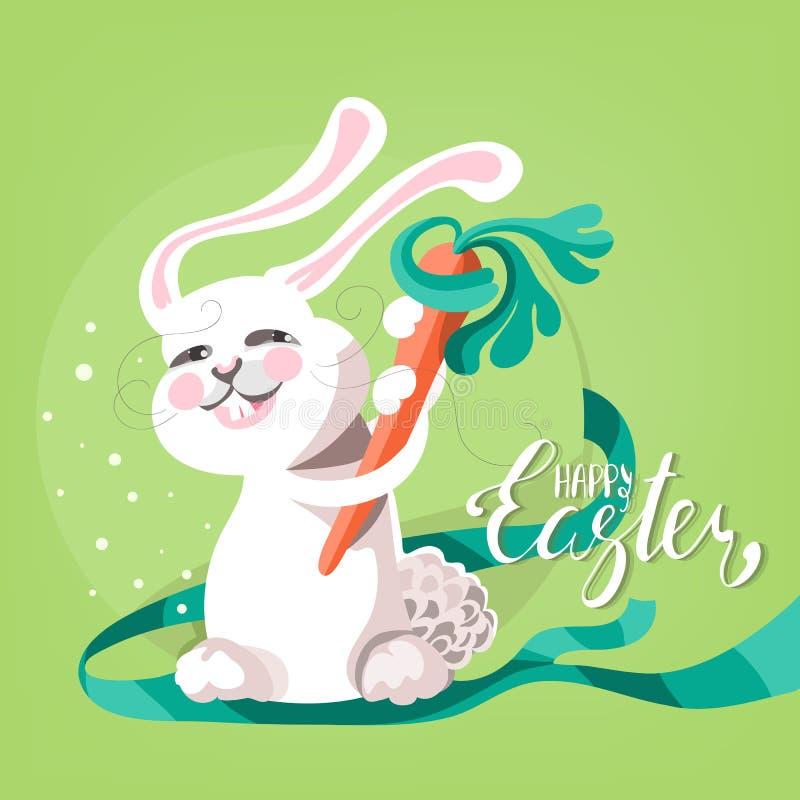 Śliczny i śmieszny Szczęśliwy Wielkanocny kartka z pozdrowieniami ilustracji