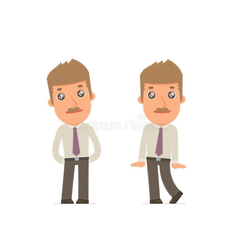 Śliczny i Czule charakteru makler w pozach ilustracja wektor