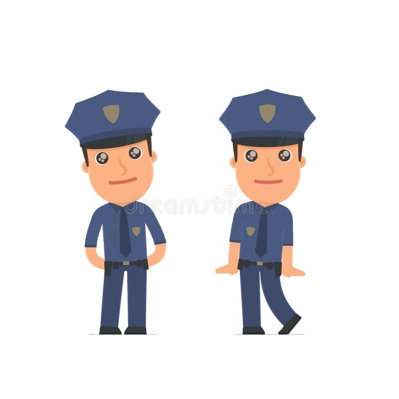 Śliczny i Czule charakteru oficer w pozach ilustracji