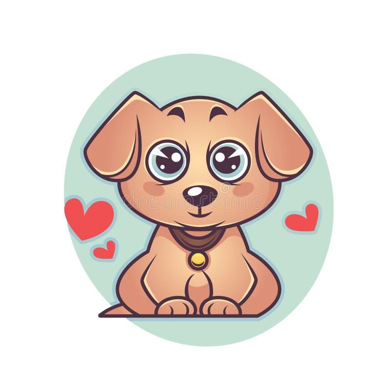 Śliczny i kawaii labradora szczeniak, psi symbol nowy rok ilustracja wektor