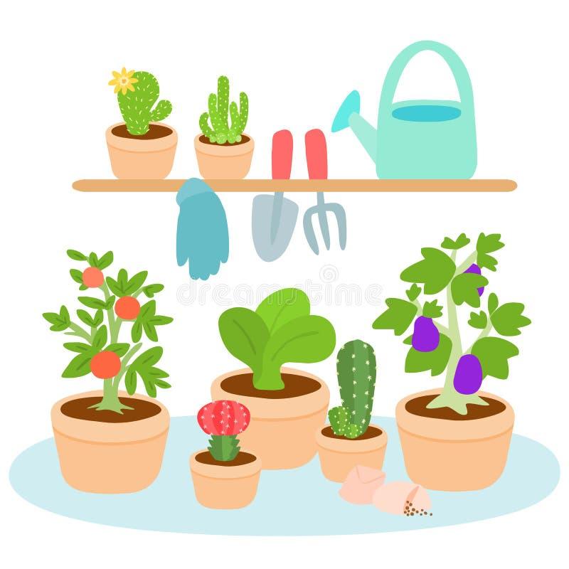 Śliczny i kolorowy ogrodnictwa narzędzie ilustracji