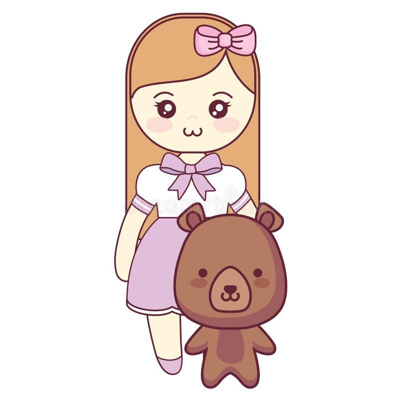 Śliczny i mały niedźwiedź z dziewczyną royalty ilustracja