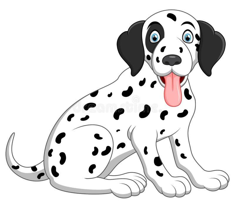 Śliczny i uroczy dalmatian psa obsiadanie na podłoga ilustracji