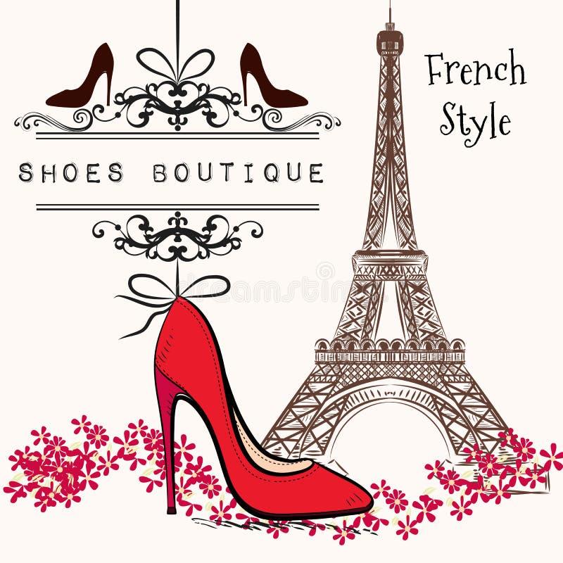 Śliczny ilustracyjny buta butika czerwieni buta zrozumienie na sztandarze royalty ilustracja